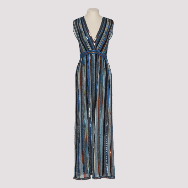 Blue fine lurex maxi dress