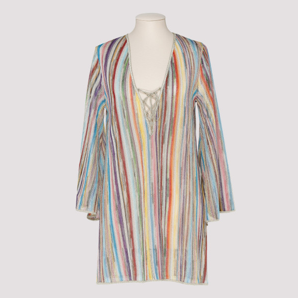 Striped stretch-knit tunic
