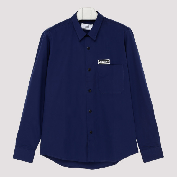 Navy cotton shirt with Logo