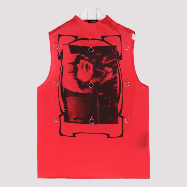 Red silk pierced tank top