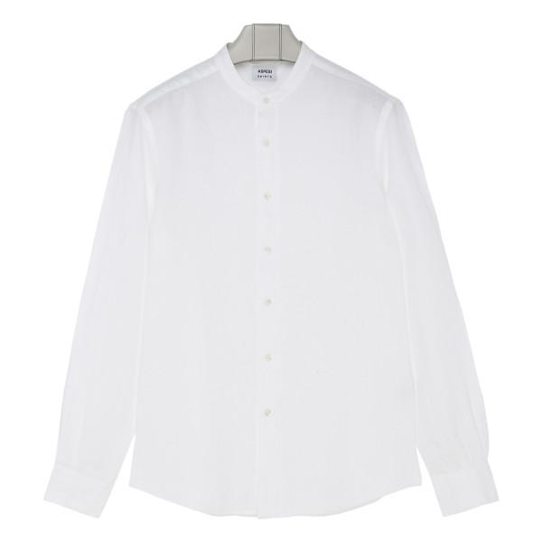 White cotton mandarin collar shirt