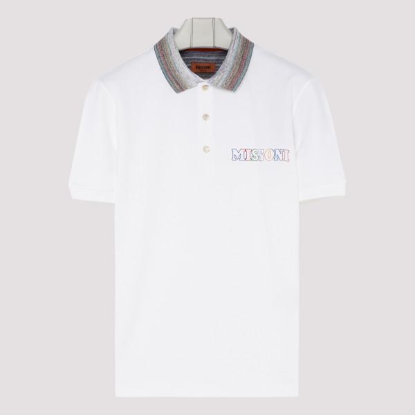 White cotton polo with logo