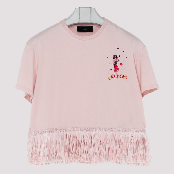 Pink fringed cotton and...
