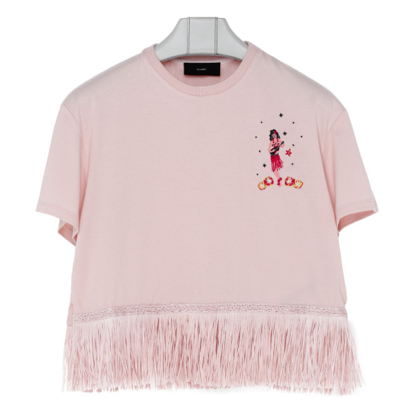 Pink fringed cotton and cashmere T-shirt