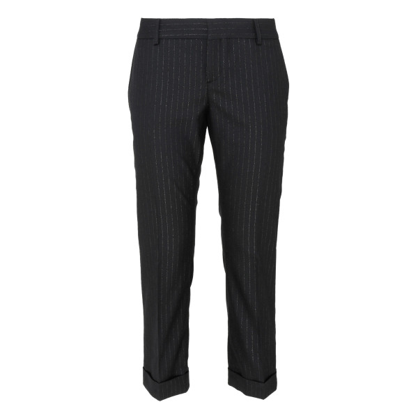 Black wool pants with Gangster Lamé stripes