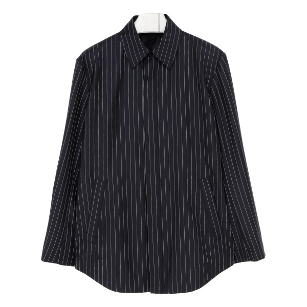 Dark navy tailored striped shirt