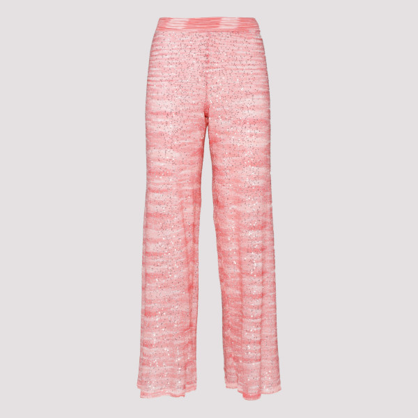 Pink open knit pants