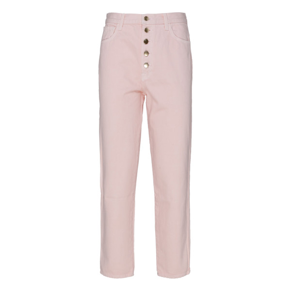 Pink High-Rise Heather Button Fly Jeans