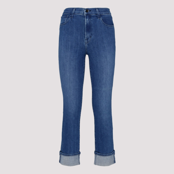 Blue cropped slim-fit jeans
