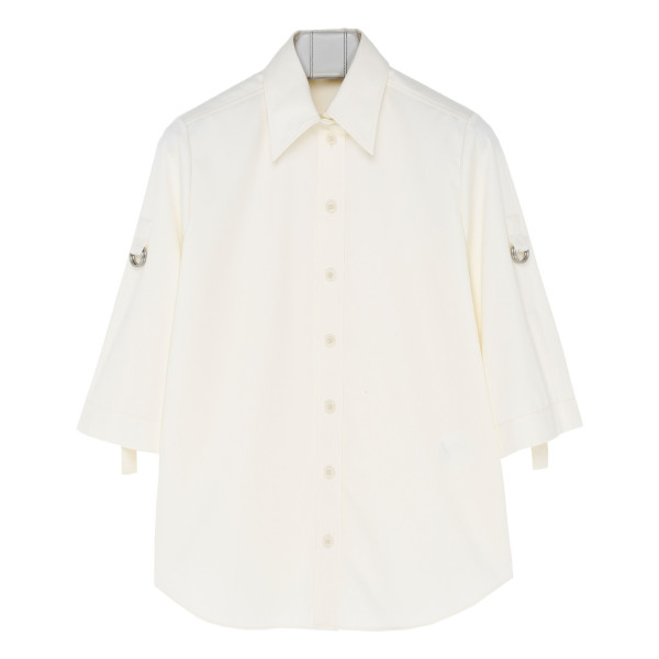 White Military shirt with rolled sleeves