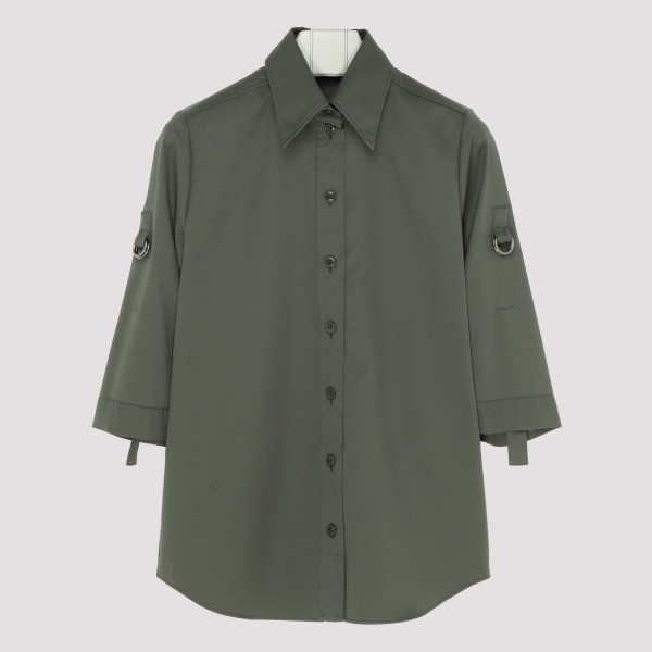 Green Military shirt with rolled sleeves