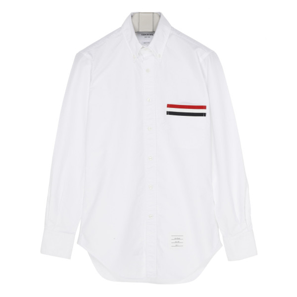 White cotton shirt with Grosgrain Pocket