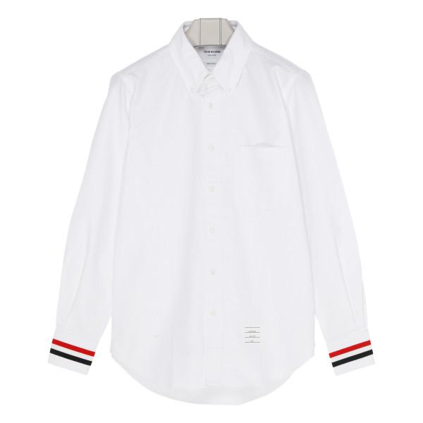 White cotton shirt with Grosgrain cuffs