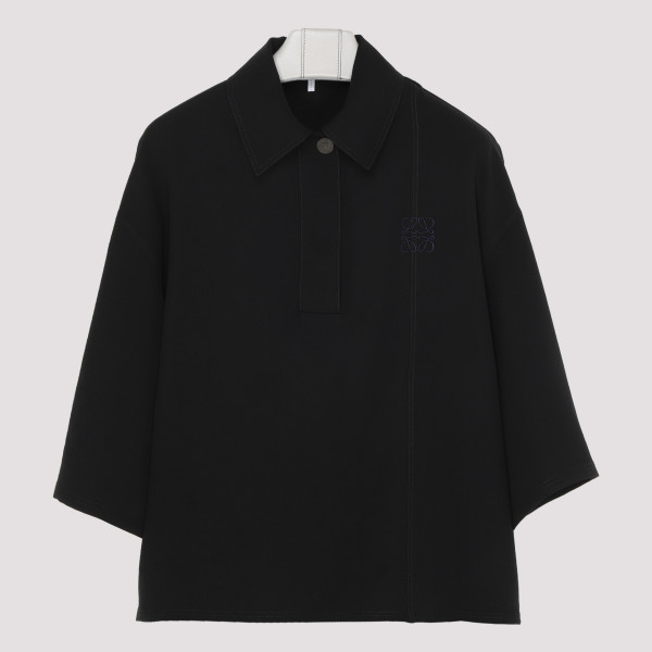 Black polo-neck top