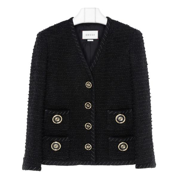Black bouclé knit jacket