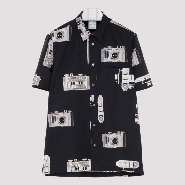 Black camera print shirt