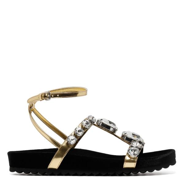 Embellished golden sandals