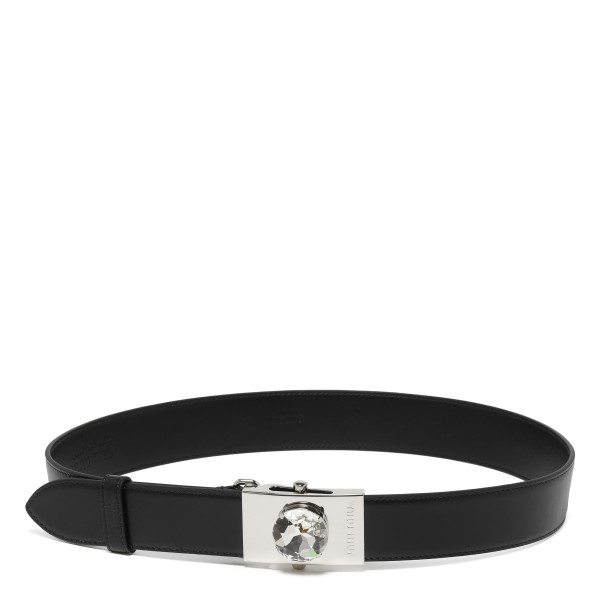 Embellished black leather belt