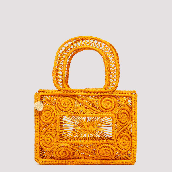 Cofre mustard straw handbag