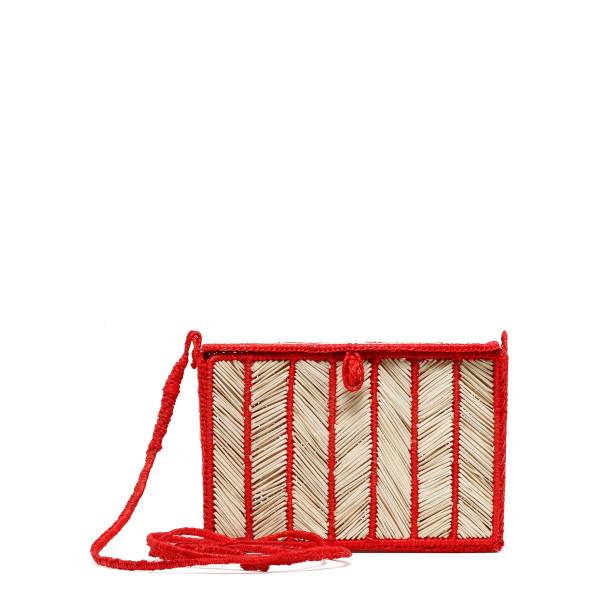 Alexa natural and red straw bag