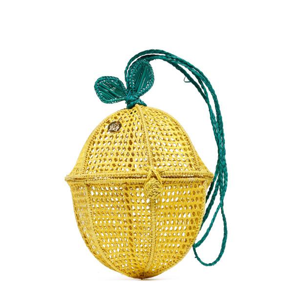 Limon yellow and green straw handbag