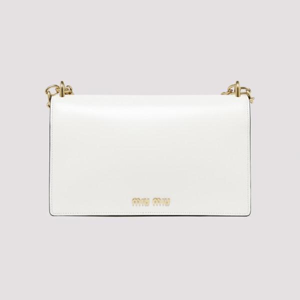 Miu Solitaire white leather shoulder bag