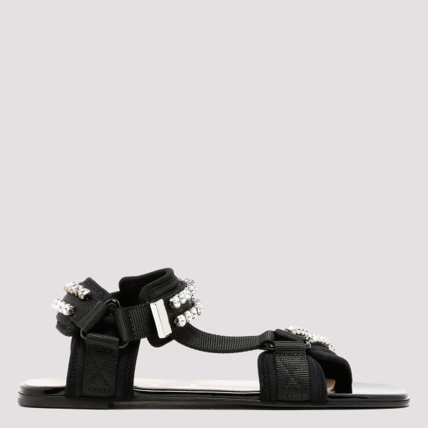 Technical canvas sandal with crystals