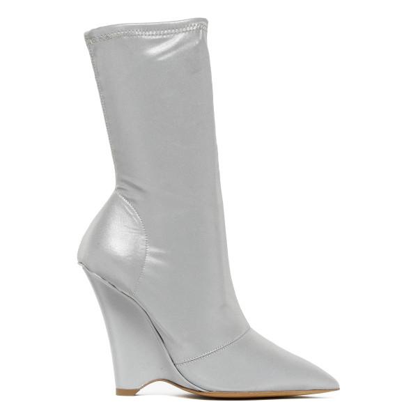 Silver block heel boots