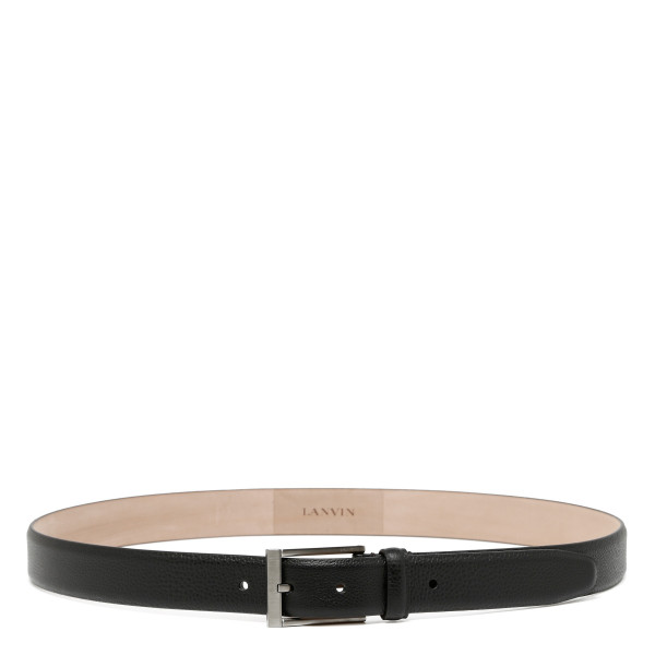 Black grained leather belt