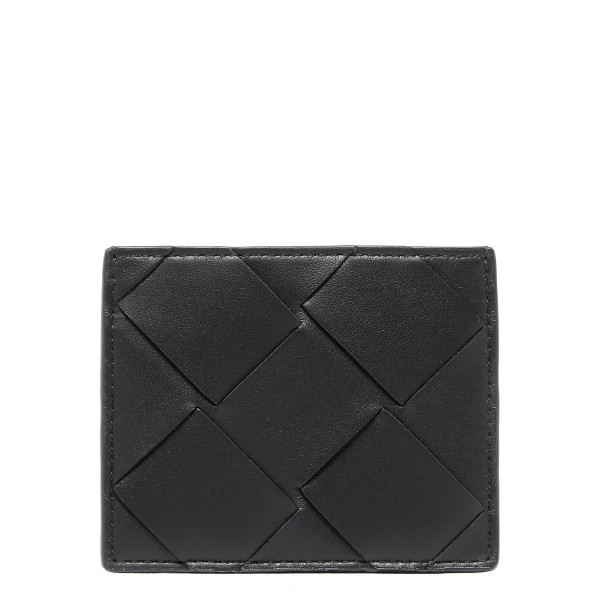 Black Intrecciato nappa card case