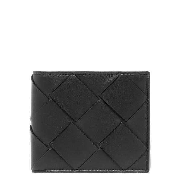 Black leather Intrecciato wallet