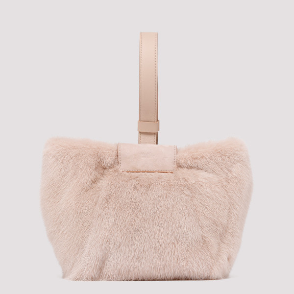 Powder pink fur handbag