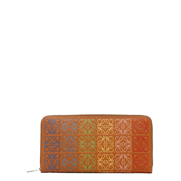 Orange leather zip around wallet