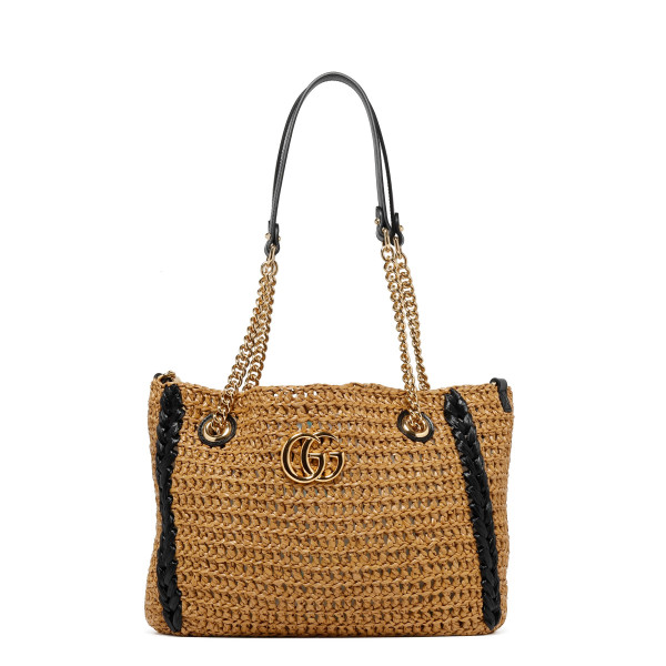 GG Marmont raffia effect medium tote bag