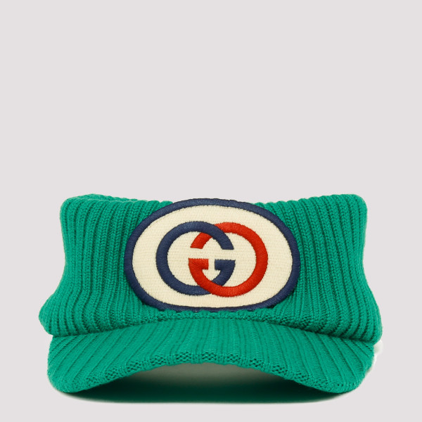 Logo green knitted visor
