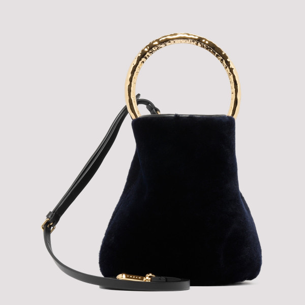 Pannier mini bucket bag in navy shearling
