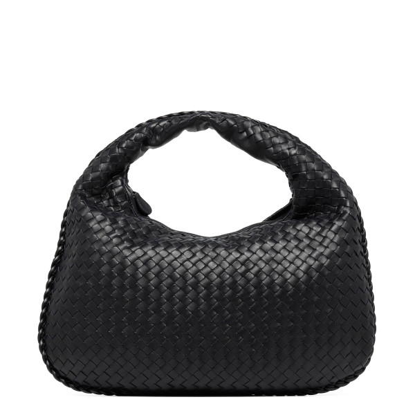 Veneta black intrecciato nappa medium hobo bag