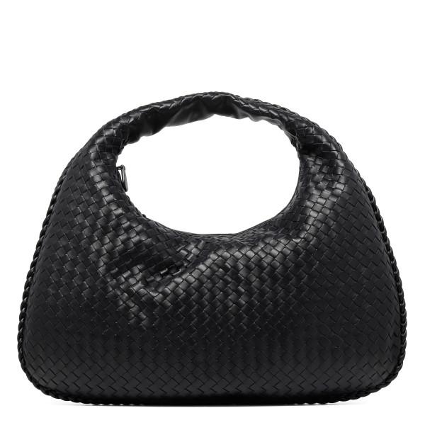 Veneta black intrecciato nappa large hobo bag