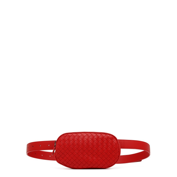 Red intrecciato nappa belt bag