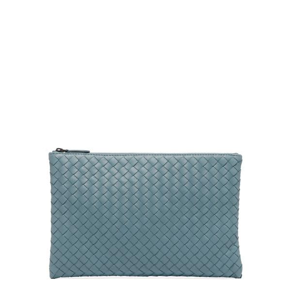 Biletto Dusty blue intrecciato nappa pouch