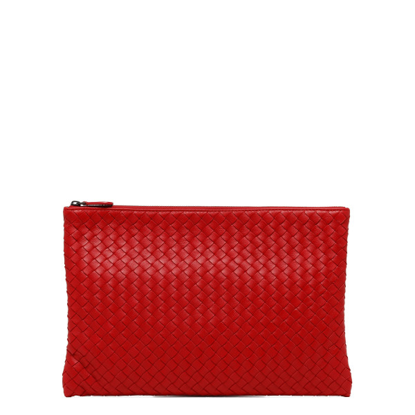 Biletto red medium intrecciato nappa pouch