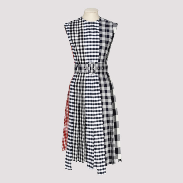 Fun-Mix Gingham Check Midi Dress