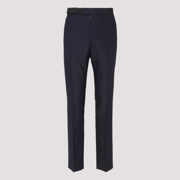 Blue elasticated straight-leg trousers