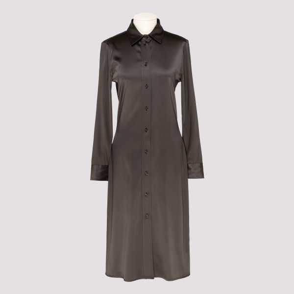 Brown high shine shirt dress