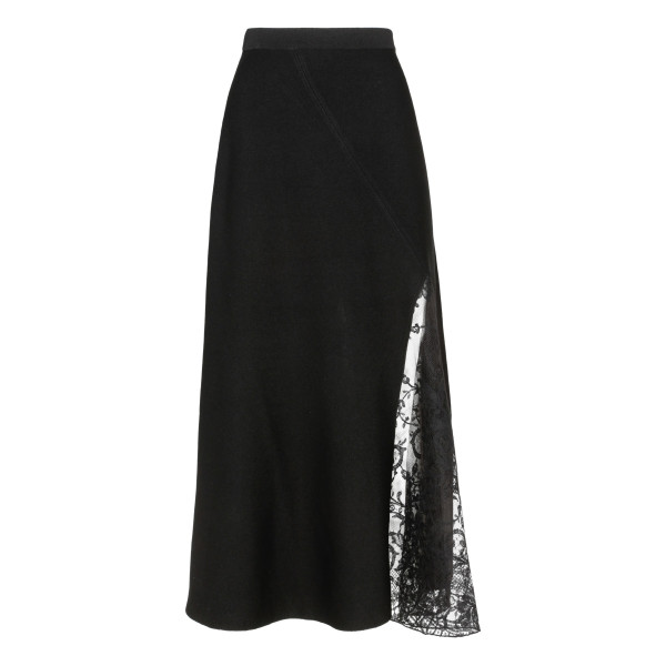 Lace-paneled black skirt