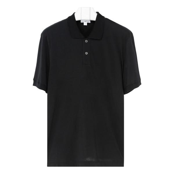Black cotton-cashmere blend polo
