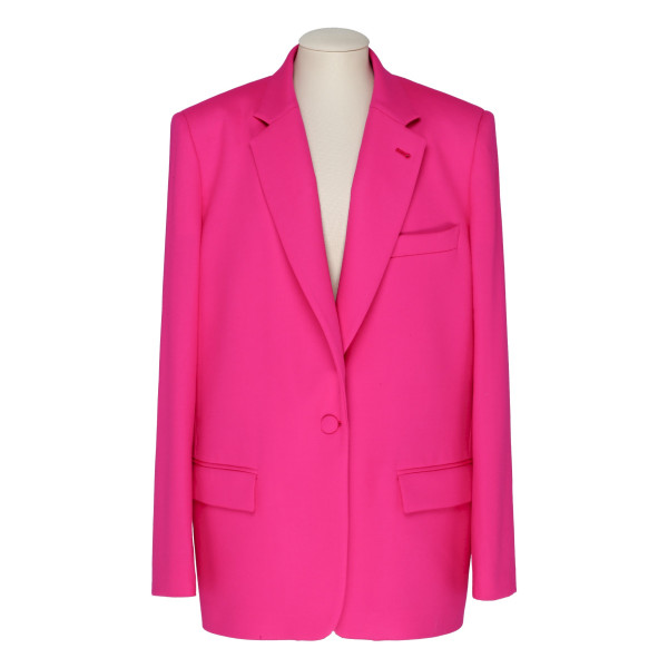 Shocking pink single-breasted oversize blazer