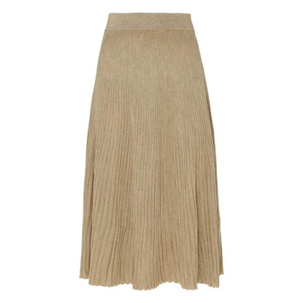 Lurex ribbed-knit skirt