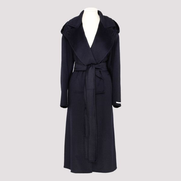 Blue Felted Cashmere Trench...