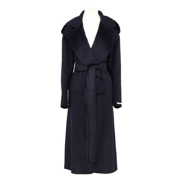 Blue Felted Cashmere Trench Coat